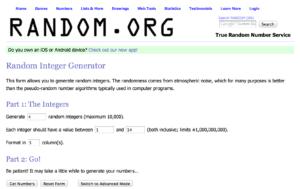 RANDOM.ORG   Integer Generator